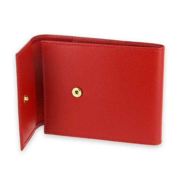 porte chequier pliable cuir rouge 3 cartes talon gauche 4