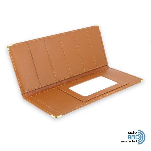 porte chequier cuir classique beige gold talon gauche protection carte sans contact rfid 3