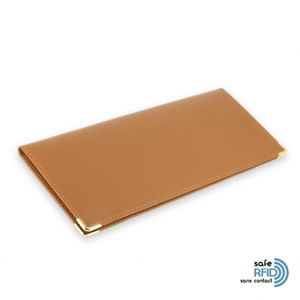porte chequier cuir classique beige gold talon gauche protection carte sans contact rfid 2
