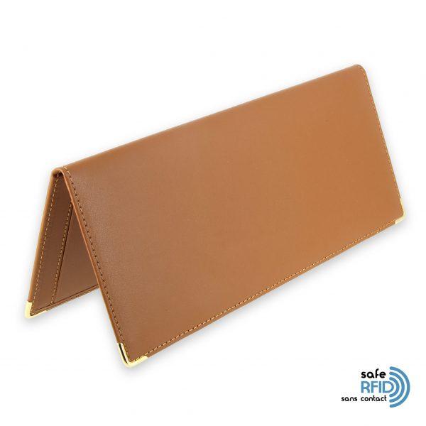 porte chequier cuir classique beige gold talon gauche protection carte sans contact rfid 1