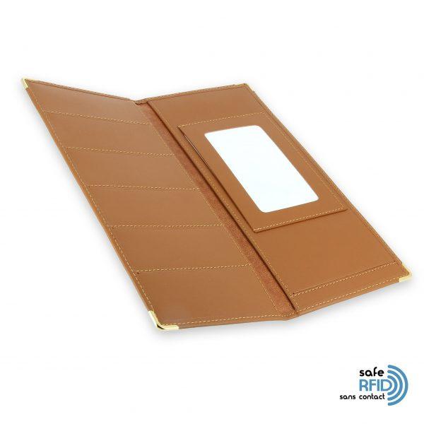 porte chequier cuir classique beige gold talon gauche protection carte sans contact rfid 4