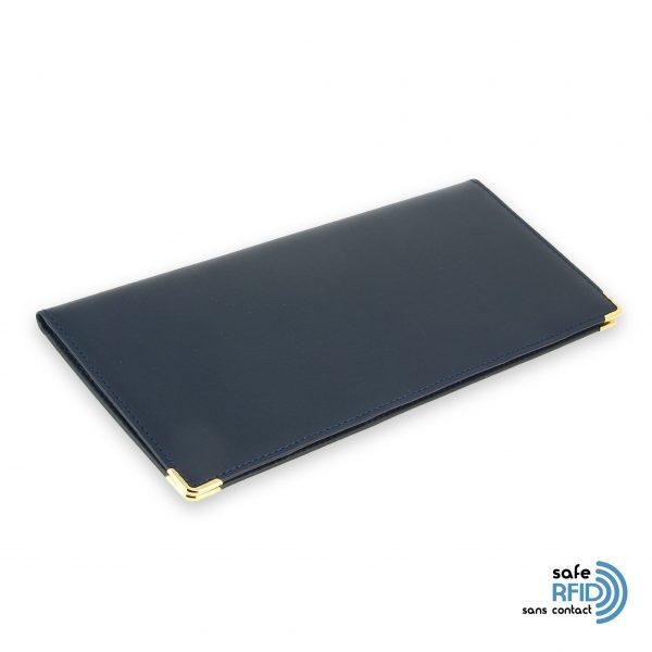 porte chequier cuir classique bleu marine talon gauche protection carte sans contact rfid 2
