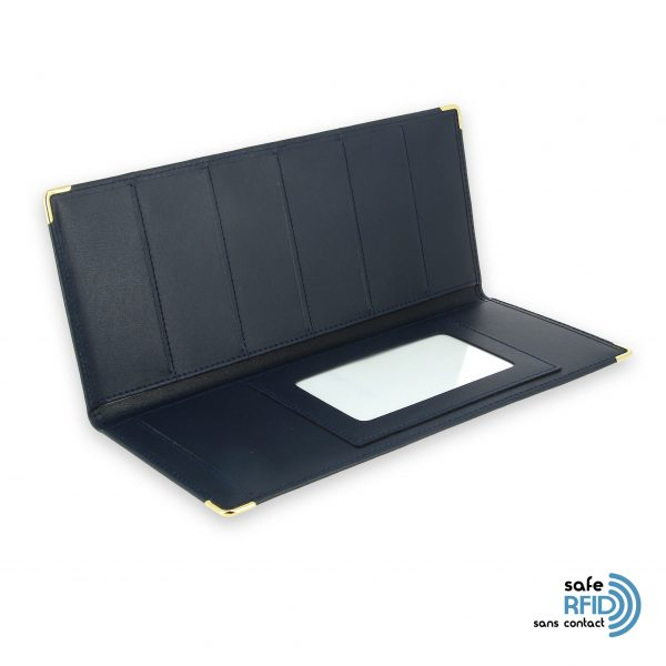 porte chequier cuir classique bleu marine talon gauche protection carte sans contact rfid 3