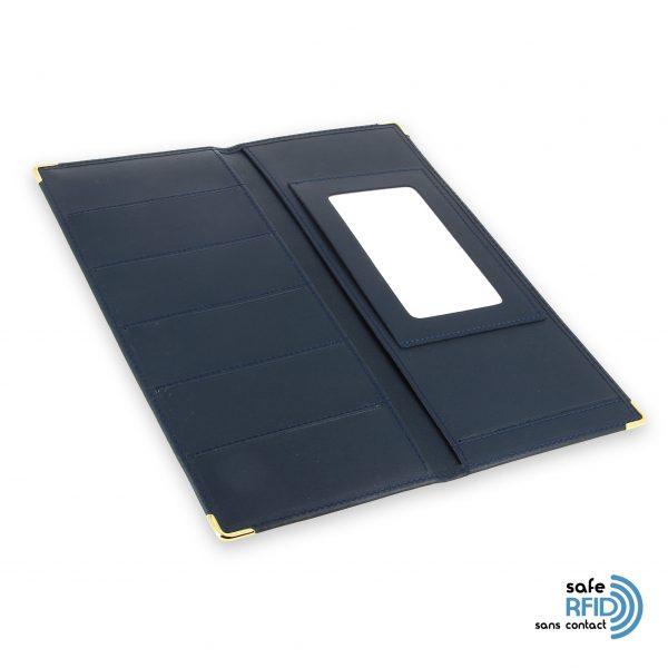 porte chequier cuir classique bleu marine talon gauche protection carte sans contact rfid 4