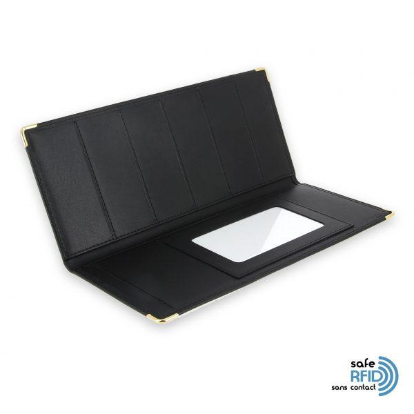 porte chequier cuir classique noir talon gauche protection carte sans contact rfid 3