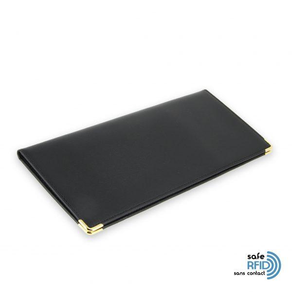 porte chequier cuir classique noir talon gauche protection carte sans contact rfid init2