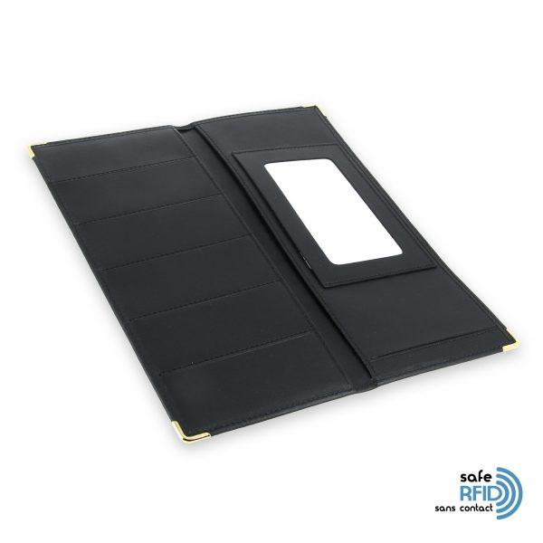 porte chequier cuir classique noir talon gauche protection carte sans contact rfid 4