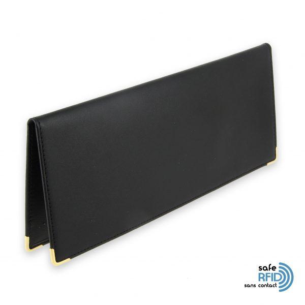 porte chequier cuir classique noir talon gauche protection carte sans contact rfid 11