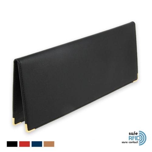 porte chequier cuir classique protection carte paiement sans contact rfid noir initiales