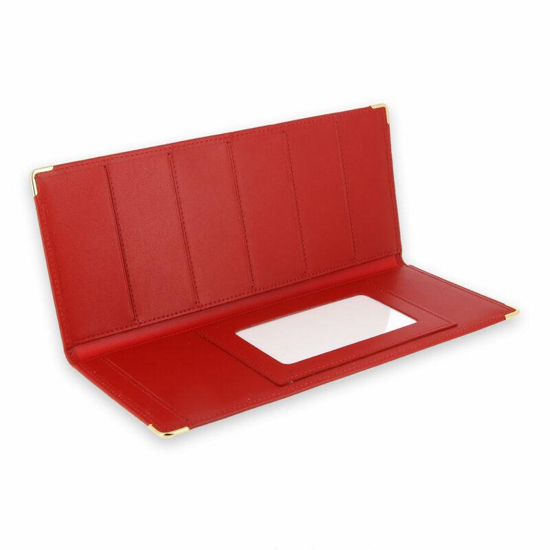 porte chequier cuir classique rouge talon gauche 3