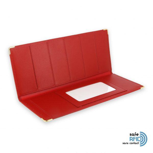porte chequier cuir classique rouge talon gauche protection carte sans contact rfid 3