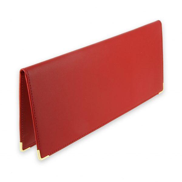 Porte chequier cuir classique rouge talon gauche 1