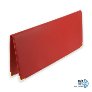porte chequier cuir classique rouge talon gauche protection carte sans contact rfid 1