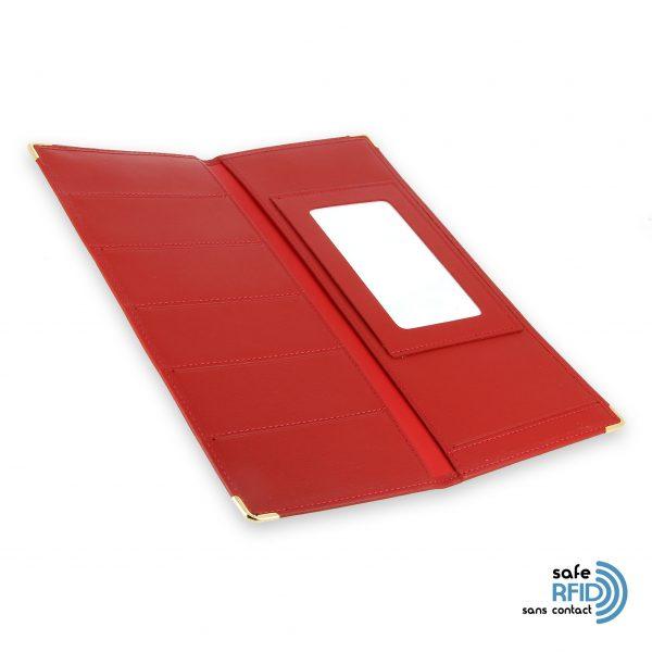 porte chequier cuir classique rouge talon gauche protection carte sans contact rfid 4