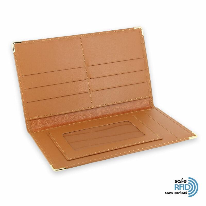 porte chequier portefeuille cuir beige gold protection carte sans contact rfid 3