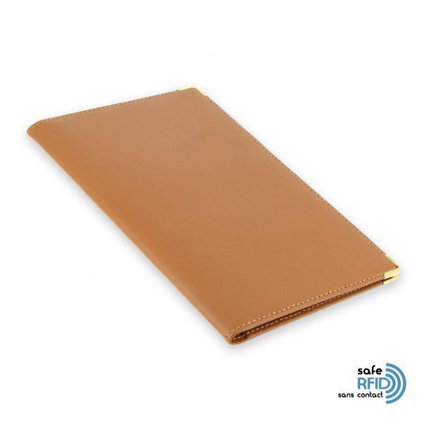 porte chequier portefeuille cuir beige gold protection carte sans contact rfid 2