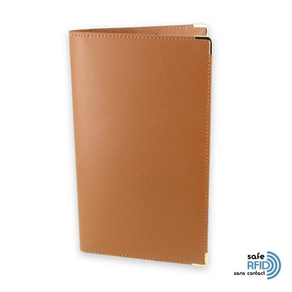 porte chequier portefeuille cuir protection carte paiement sans contact rfid beige gold
