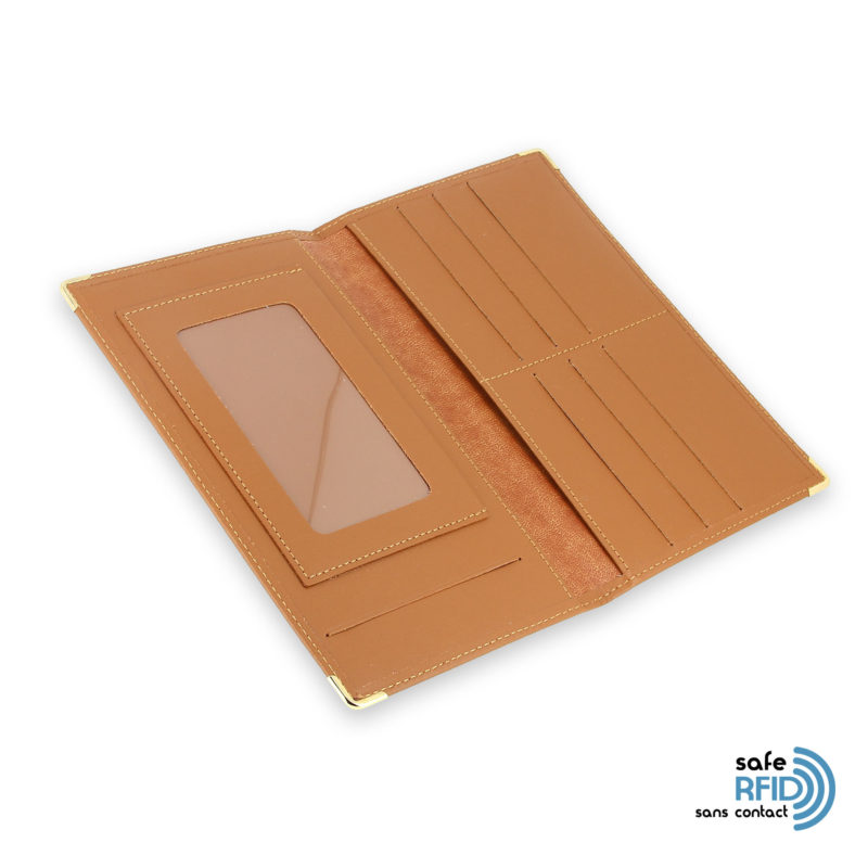 porte chequier portefeuille cuir beige gold protection carte sans contact rfid 4