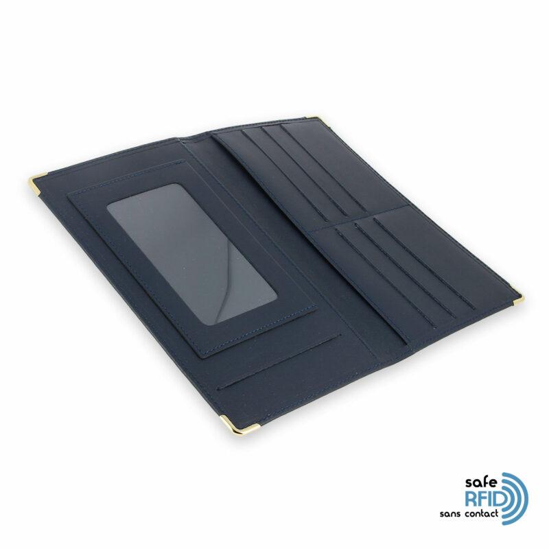 porte chequier portefeuille cuir bleu marine protection carte sans contact rfid 4