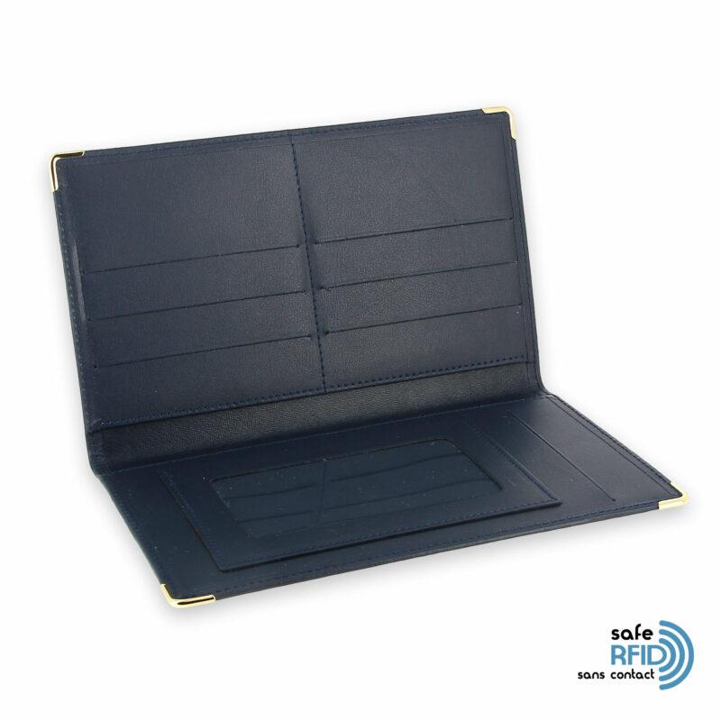 porte chequier portefeuille cuir bleu marine protection carte sans contact rfid 3