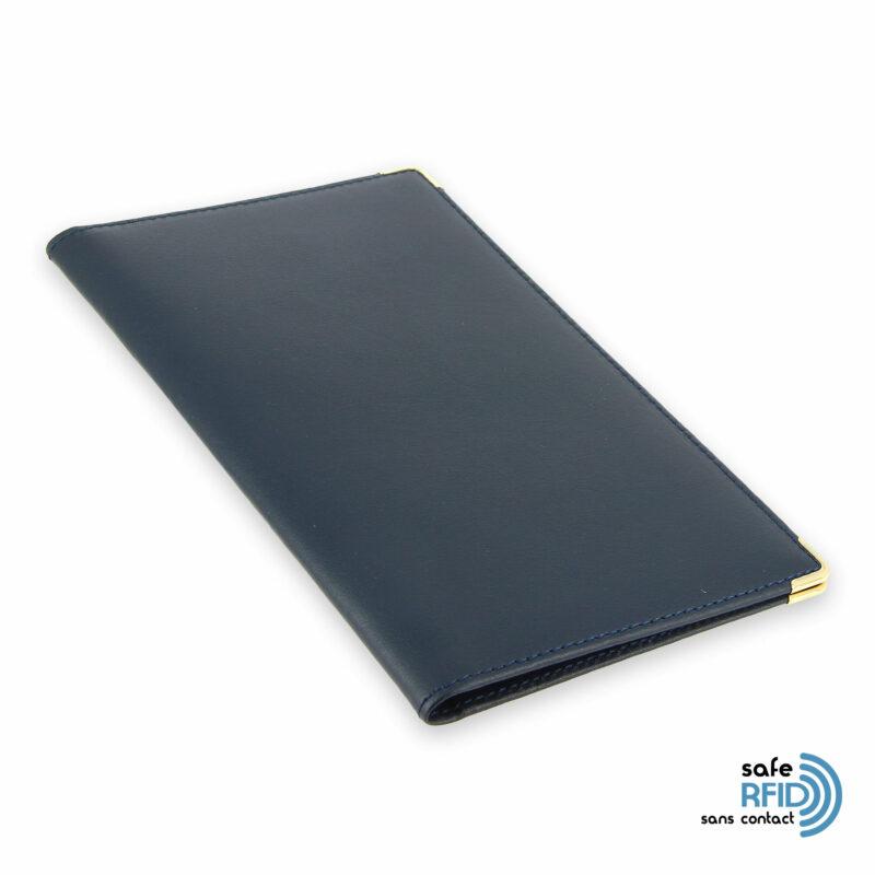 porte chequier portefeuille cuir bleu marine protection carte sans contact rfid 2