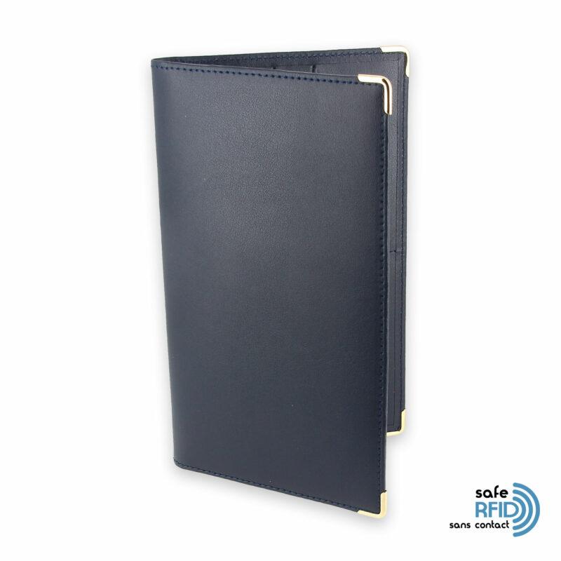 porte chequier portefeuille cuir bleu marine protection carte sans contact rfid 1