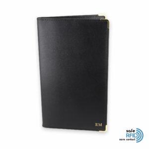 porte chequier portefeuille cuir noir init protection carte sans contact rfid1