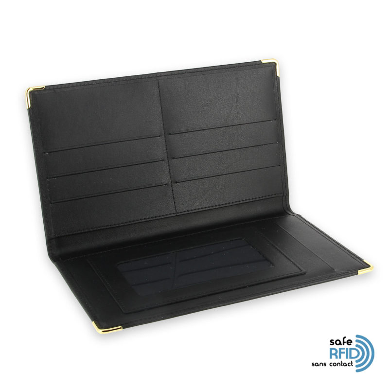 porte chequier portefeuille cuir noir protection carte sans contact rfid 3