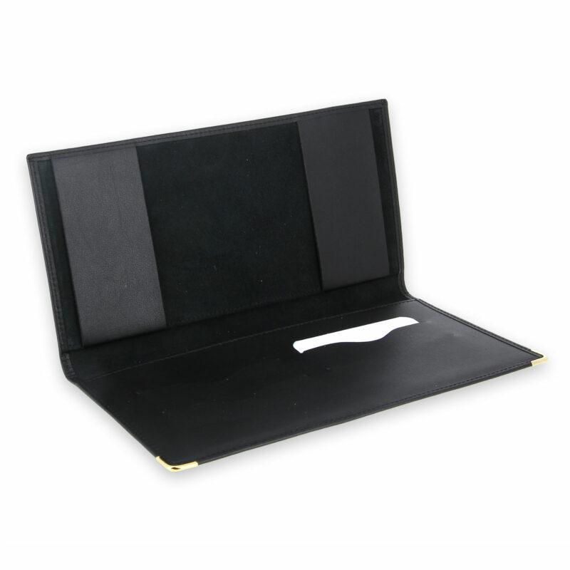 porte chequier professionnel cuir noir 2 talons 4