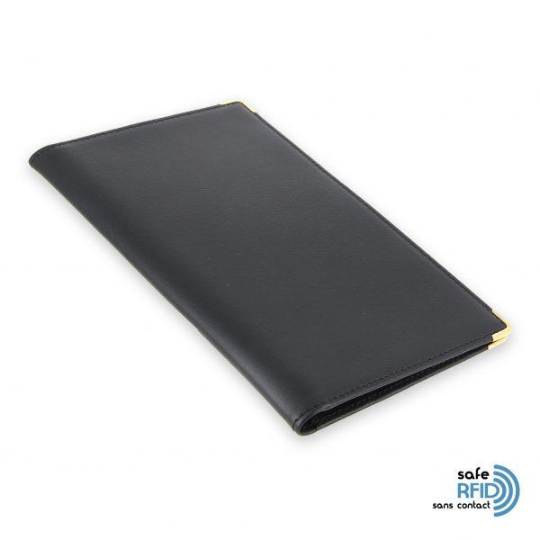 porte chequier portefeuille cuir noir protection carte sans contact rfid 2