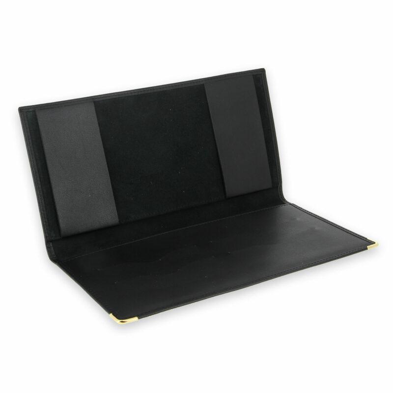 porte chequier professionnel cuir noir 2 talons 3
