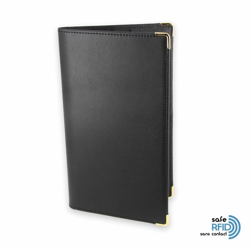 porte chequier portefeuille cuir noir protection carte sans contact rfid 1