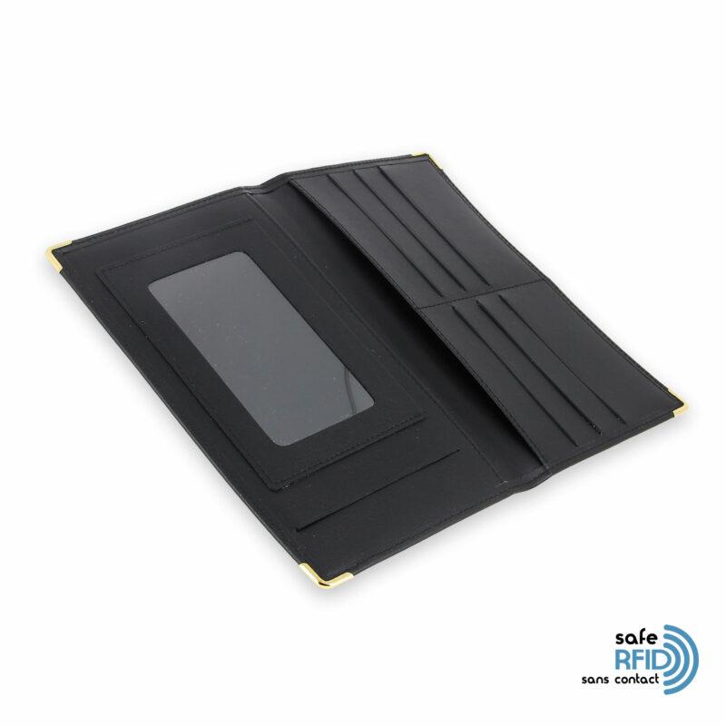 porte chequier portefeuille cuir noir protection carte sans contact rfid 4