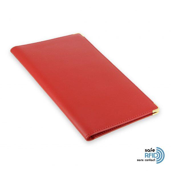 porte chequier portefeuille cuir rouge protection carte sans contact rfid 2