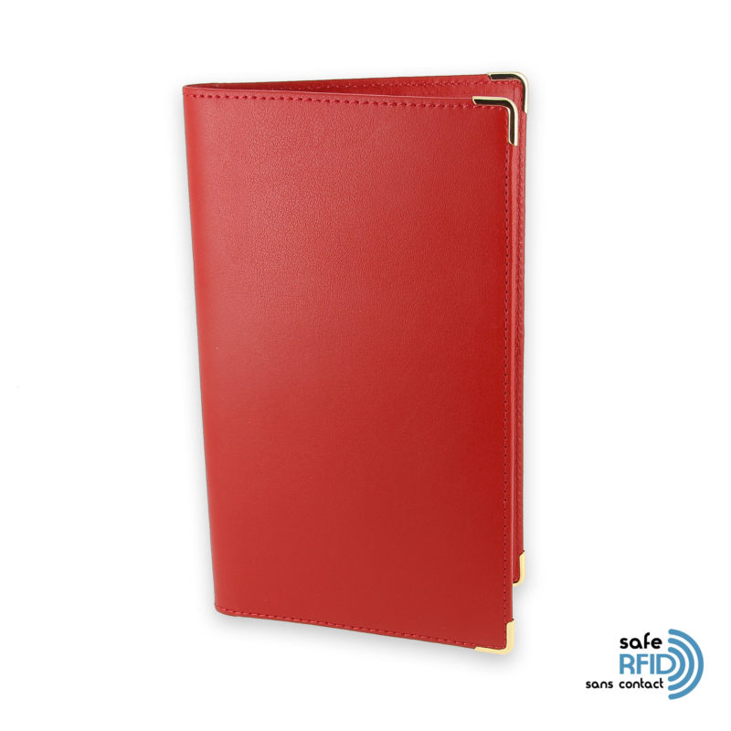 porte chequier portefeuille cuir rouge protection carte sans contact rfid 1