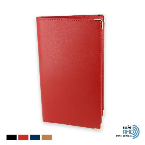 porte chequier portefeuille cuir rouge protection carte paiement sans contact rfid