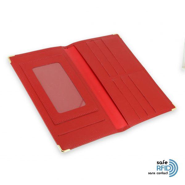 porte chequier portefeuille cuir rouge protection carte sans contact rfid 4