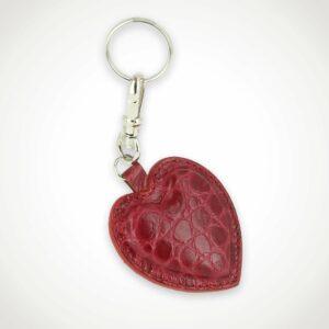 Porte clefs cœur cuir façon Croco