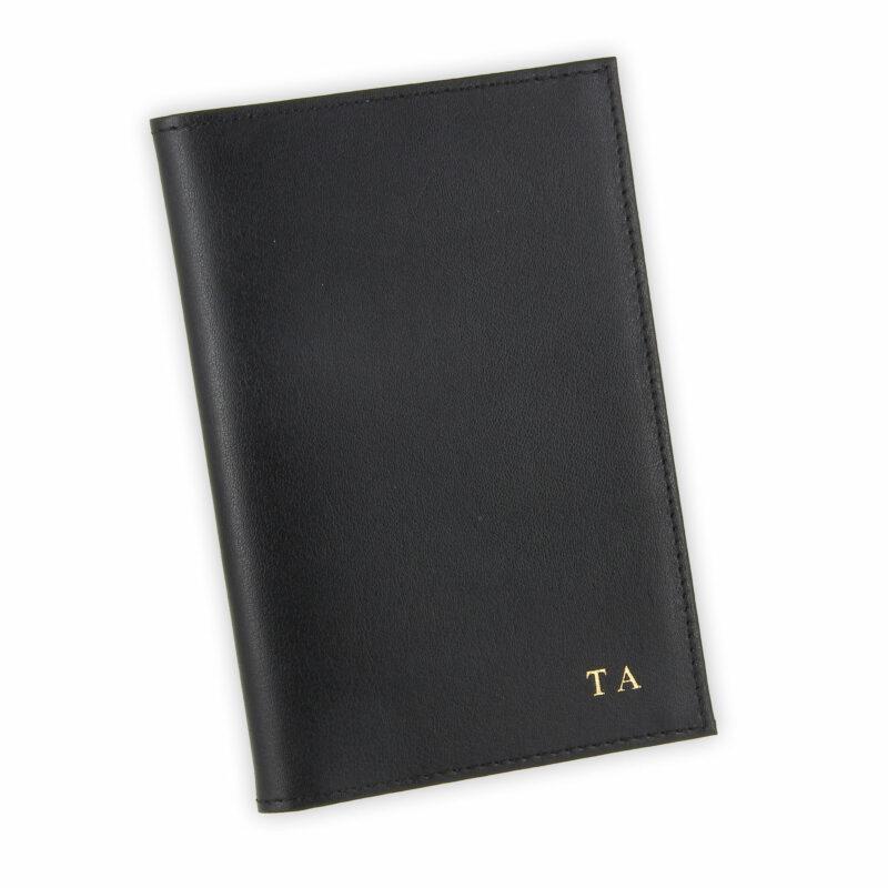 porte papiers vehicule cuir noir initiales
