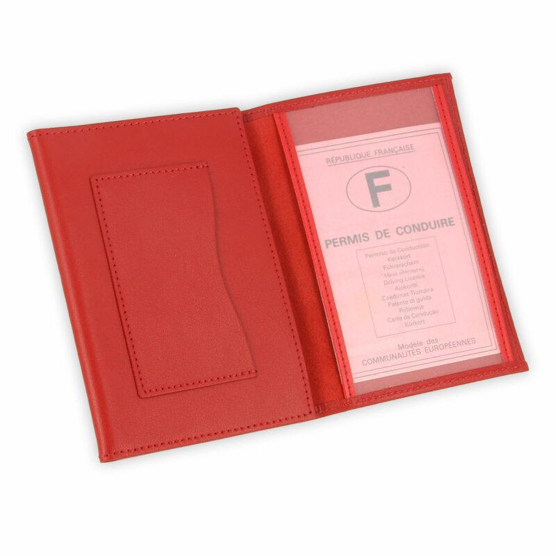 porte papiers vehicule cuir rouge 3