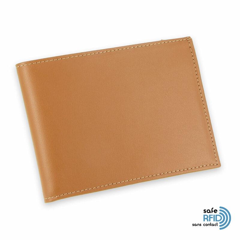 portefeuille cuir beige gold avec 6 cartes 2 protection carte sans contact rfid
