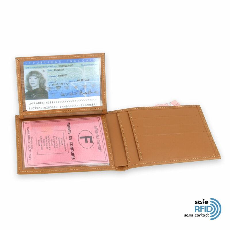 portefeuille cuir beige gold avec 6 cartes 3 protection carte sans contact rfid