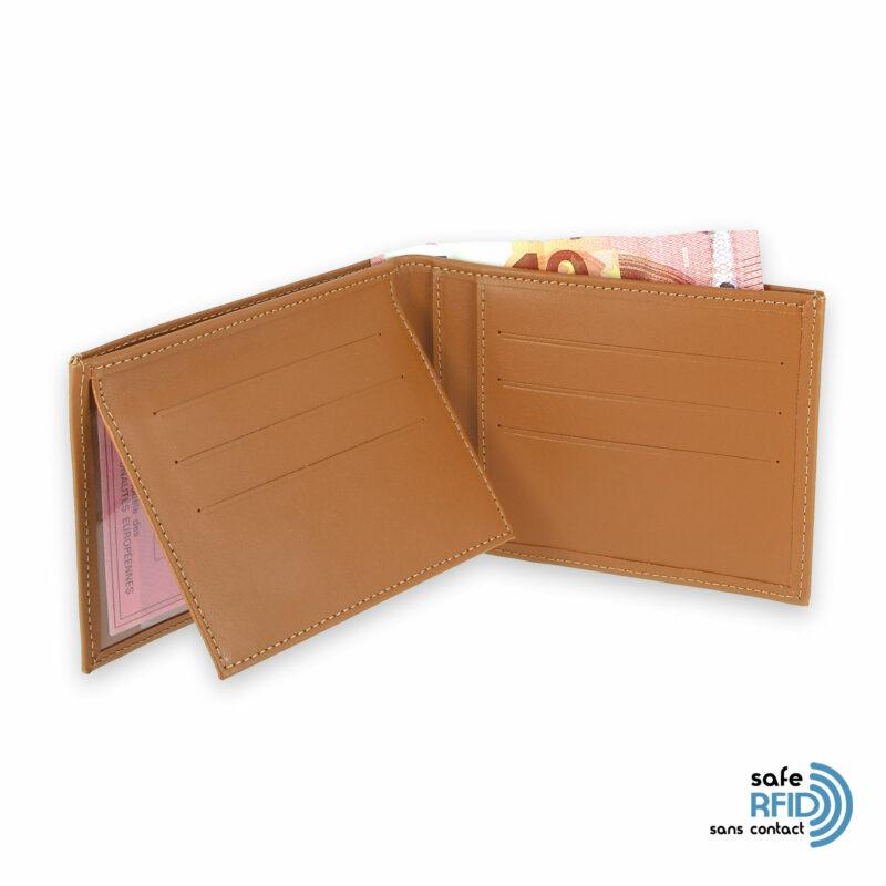 portefeuille cuir beige gold avec 6 cartes 4 protection carte sans contact rfid