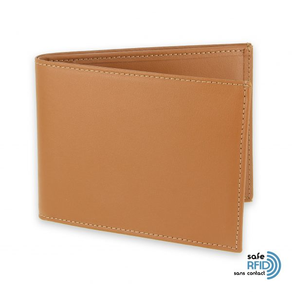 portefeuille cuir beige gold avec 6 cartes protection carte sans contact rfid