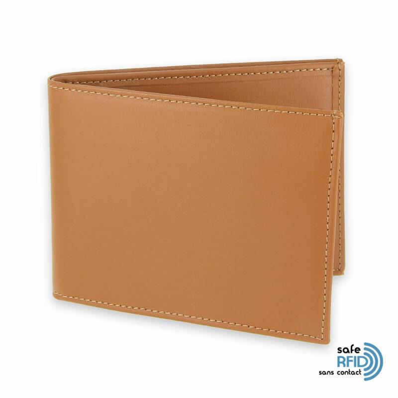 portefeuille cuir beige gold avec 6 cartes protection carte sans contact rfid