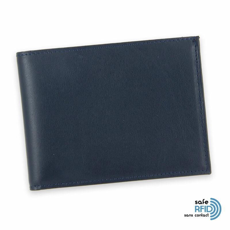 portefeuille cuir bleu marine avec 6 cartes 2 protection carte sans contact rfid