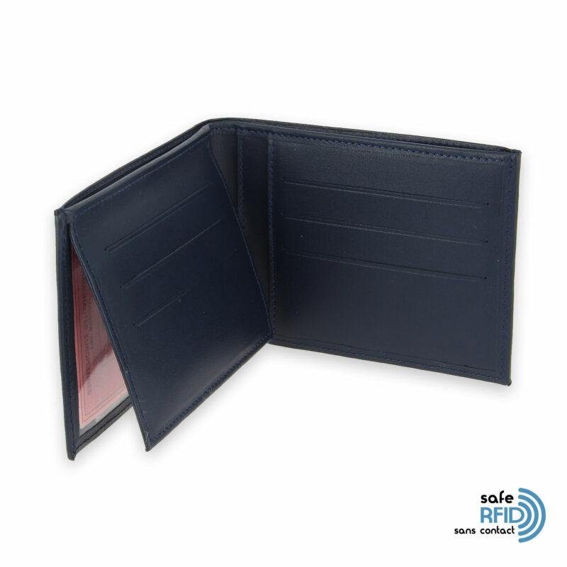 portefeuille cuir bleu marine avec 6 cartes 4 protection carte sans contact rfid