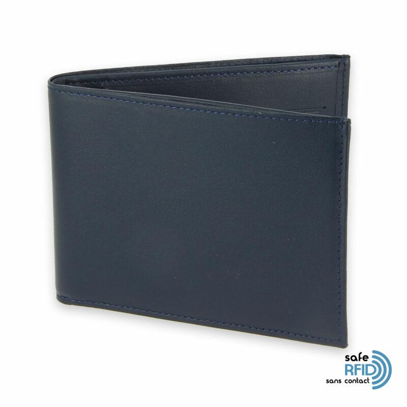 portefeuille cuir bleu marine avec 6 cartes 1 protection carte sans contact rfid