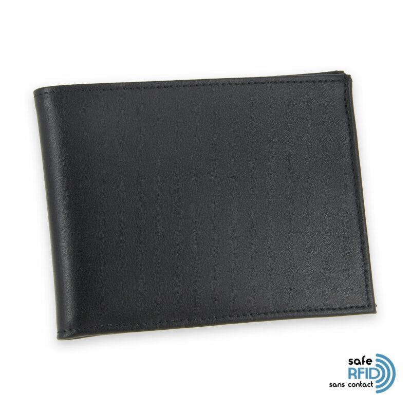 portefeuille cuir noir avec 6 cartes 2 protection carte sans contact rfid