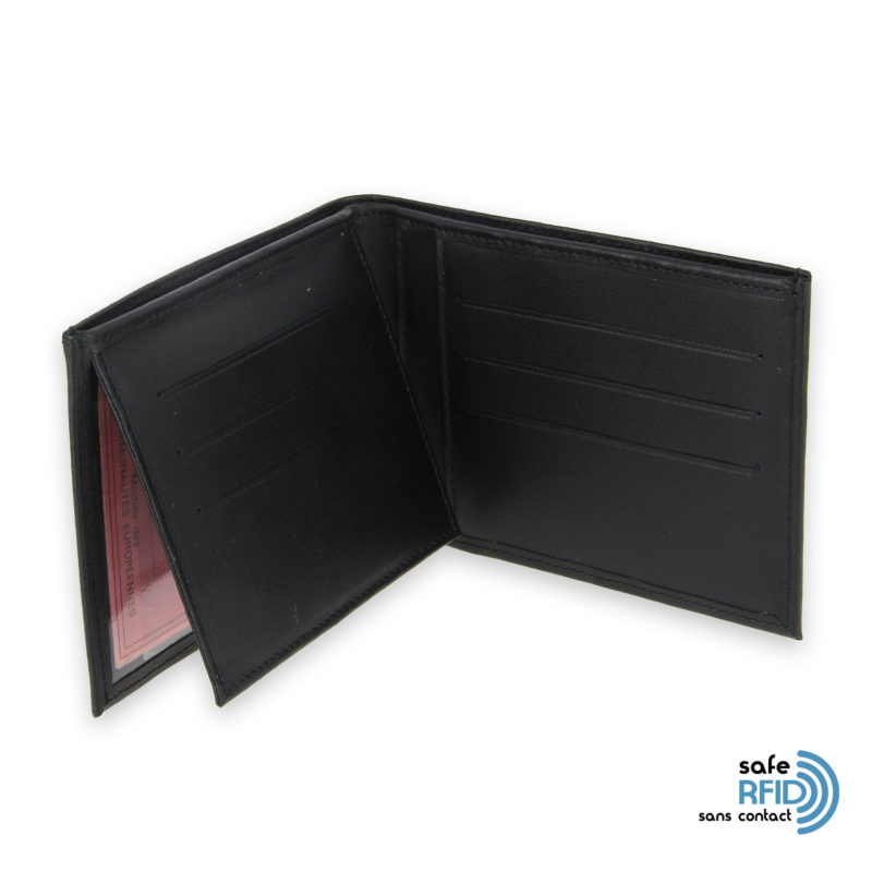 portefeuille cuir noir avec 6 cartes 4 protection carte sans contact rfid